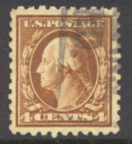 465 4c Washington , org. brn, Perf 10, No Wmk, AVG Used 465usedavg