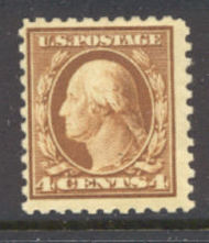 465 4c Washington , org. brn, Perf 10, No Wmk, AVG  Mint NH 465nhavg