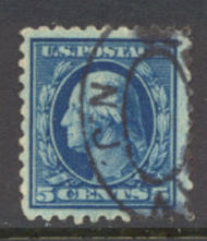 466 5c Washington, blue, Perf 10, No Wmk, AVG Used 466usedav