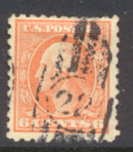468 6c Washington, orange, Perf 10, No Wmk, AVG Used 468usedav
