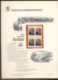 1554 10c Paul Laurence Dunbar USPS Cat. 49 Commemorative Panel cp049