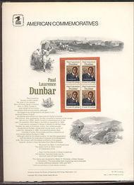 1554 10c Paul Laurence Dunbar USPS Cat. 49 Commemorative Panel cp049