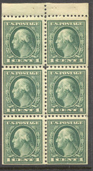 498e 1c Washington, green, F-VF Mint NH Booklet Pane of 6 498enh