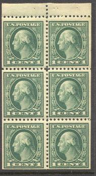 498e 1c Washington, green, AVG Mint NH Booklet Pane of 6 498enhavg