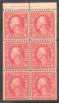 499e 2c Washington, rose, Type I, Mint NH Booklet Pane of 6 499enh