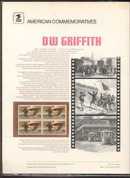 1555 10c D. W. Griffith USPS Cat. 50 Commemorative Panel cp050