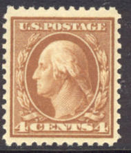 503 4c Washington, brown, Flat Plate Perf 11, F-VF Unused 503og
