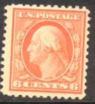506 6c Washington, red orange, Mint NH AVG 506nhavg