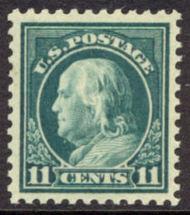 511 11c Franklin, light green, AVG Mint NH 511nhav