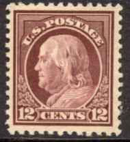 512 12c Franklin, claret brown, AVG Mint NH 512nhavg
