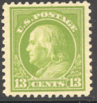 513 13c Franklin, apple green, F-VF Mint NH 513nh