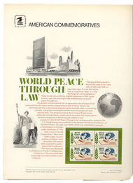 1576 10c World Peace through Law USPS Cat. 54  Commemorative Panel cp054