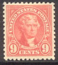 561 9c Thomas Jefferson AVG Mint Hinged 561ogavg