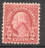 579 2c Washington, Carmine 11 x 10 AVG Mint Hinged 579ogavg