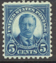 586 5c T. Roosevelt Perf 10 F-VF Mint Hinged Plate Block of 4 586ogpb