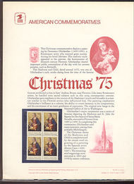1579 10c Christmas Madonna USPS Cat. 59  Commemorative Panel cp059