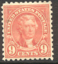 590 9c Jefferson Perf 10 AVG Mint Hinged 590ogavg