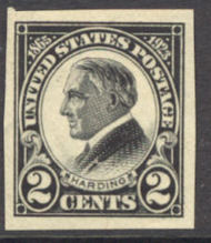 611 2c Harding, Imperf F-VF Mint NH Plate Block of 6 611pbnh