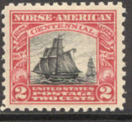 620 2c Norse-American F-VF Mint NH Plate Block of 8 620nhpb
