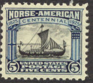 621 5c Norse-American F-VF Mint NH Plate Block of 8 621nhpb