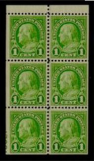 632a 1c Franklin Booklet Pane F-VF Mint Hinged 632aog