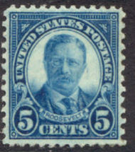 637 5c T. Roosevelt AVG Mint NH 637nhavg