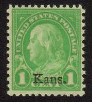 658 1c Franklin Kansas Overprint AVG Mint NH 658nhavg