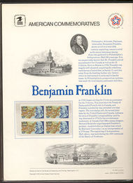 1690 13c Benjamin Franklin USPS Cat. 66 Commemorative Panel cp066