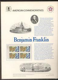 1690 13c Benjamin Franklin USPS Cat. 66 Commemorative Panel cp066