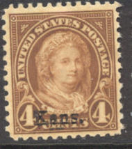 662 4c M. Washington Kansas Overprint AVG Mint Hinged 662ogavg