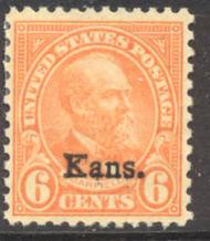 664 6c Garfield Kansas Overprint AVG Mint Hinged 664ogavg