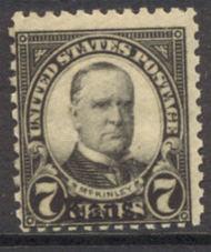 665 7c McKinley Kansas Overprint AVG Mint Hinged 665ogavg