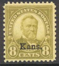 666 8c U.S. Grant Kansas Overprint AVG Mint Hinged 666ogavg