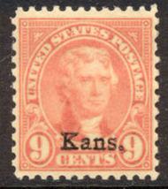 667 9c Jefferson Kansas Overprint AVG Mint Hinged 667ogavg