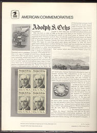 1700 13c Adolph S. Ochs USPS Cat. 70 Commemorative Panel cp070