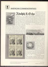 1700 13c Adolph S. Ochs USPS Cat. 70 Commemorative Panel cp070