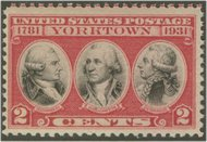 703 2c Yorktown F-VF Mint NH Plate Block of 4 703pb