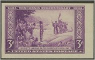 755 3c Wisconsin F-VF Mint NH Vertical Pair, Horizontal Line 755vphg
