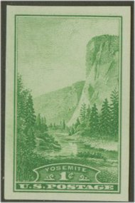 756 1c Yosemite Imperforate F-VF Mint NH 756nh