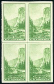 756 1c Yosemite Imperforate Center Line Block 756clb