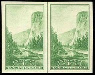 756 1c Yosemite Imperforate Horizontal Pair Vertical Line 756hpvg