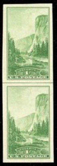 756 1c Yosemite Imperforate Vertical Pair Horizontal Line 756vphg