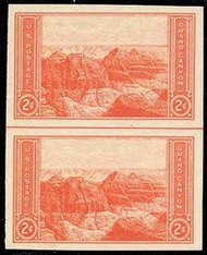 757 2c Grand Canyon Imperforate Vertical Pair Horizontal Line 757vphg