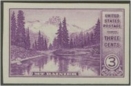 758 3c Mirror Lake Imperforate F-VF Mint NH 758nh