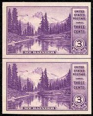758 3c Mirror Lake Imperforate Vertical Pair Horizontal Line 758vphg