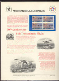 1710 13c Lindbergh Flight USPS Cat. 76 Commemorative Panel co076