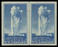 760 5c Old Faithful Imperforate Horizontal Pair Vertical Line 760hpvg