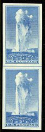 760 5c Old Faithful Imperforate Vertical Pair Horizontal Line 760vphg