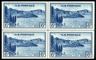 761 6c Crater Lake Imperforate Center Line Block 761clb