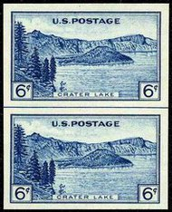 761 6c Crater Lake Imperforate Vertical Pair Horizontal Line 761vphg